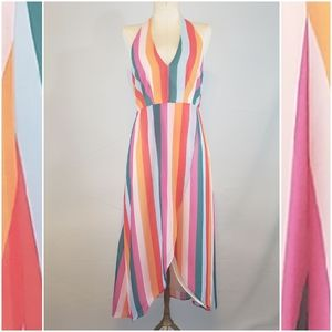 Essue striped halter dress size small